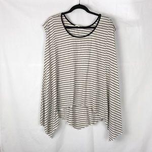 Len Lis Stripe Black & Light Gray Short Sleeve Top